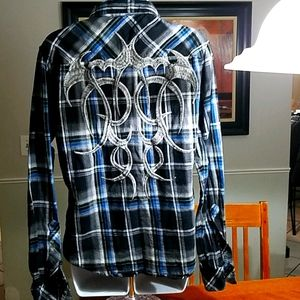 """Black Brand"" dressy embroidard Flannel"